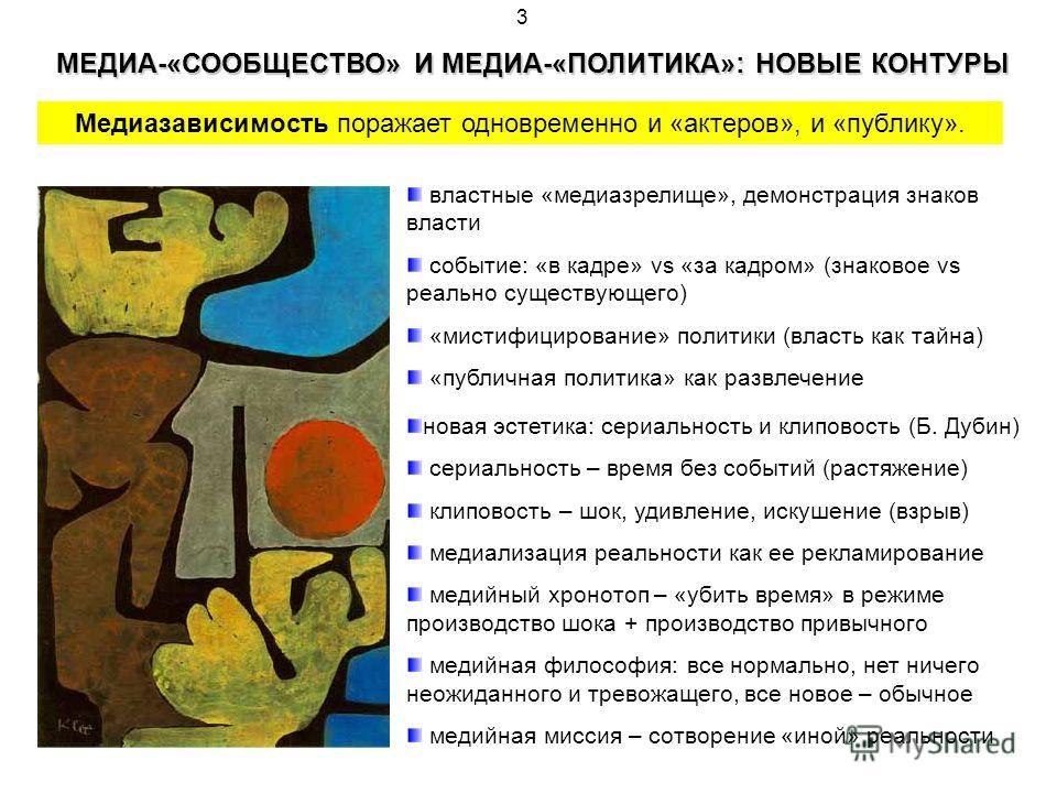 3 МЕДИА-«СООБЩЕСТВО» И МЕДИА-«ПОЛИТИКА»: НОВЫЕ КОНТУРЫ Медиазависимость поражает одновременно и «актеров», и «публику». властные «медиазрелище», демонстрация знаков власти событие: «в кадре» vs «за кадром» (знаковое vs реально существующего) «мистифи