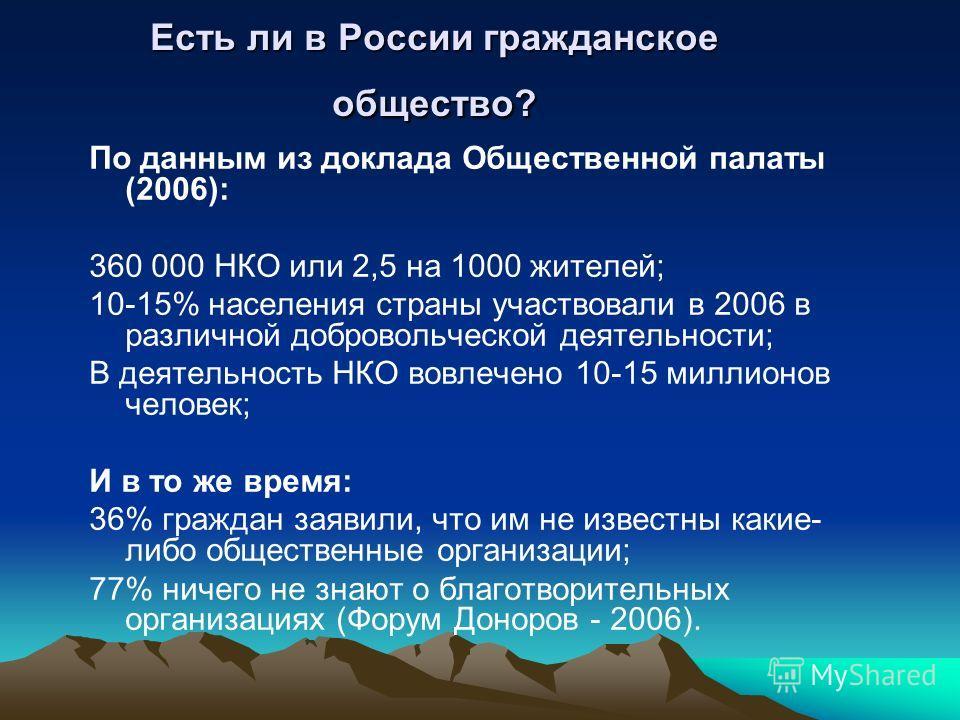 Есть ли в России гражданское общество? По данным из доклада Общественной палаты (2006): 360 000 НКО или 2,5 на 1000 жителей; 10-15% населения страны участвовали в 2006 в различной добровольческой деятельности; В деятельность НКО вовлечено 10-15 милли