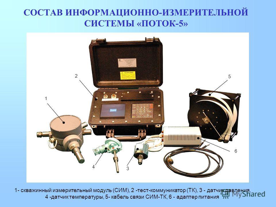СОСТАВ ИНФОРМАЦИОННО-ИЗМЕРИТЕЛЬНОЙ СИСТЕМЫ «ПОТОК-5» 1 2 3 4 5 6 1- скважинный измерительный модуль (СИМ), 2 -тест-коммуникатор (ТК), 3 - датчик давления, 4 -датчик температуры, 5- кабель связи СИМ-ТК, 6 - адаптер питания
