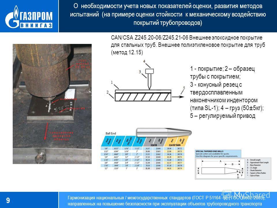 9 1 - покрытие; 2 – образец трубы с покрытием; 3 - конусный резец с твердосплавленным наконечником индентором (типа SL-1); 4 – груз (50±5кг); 5 – регулируемый привод CAN/CSA Z245.20-06/Z245.21-06 Внешнее эпоксидное покрытие для стальных труб. Внешнее