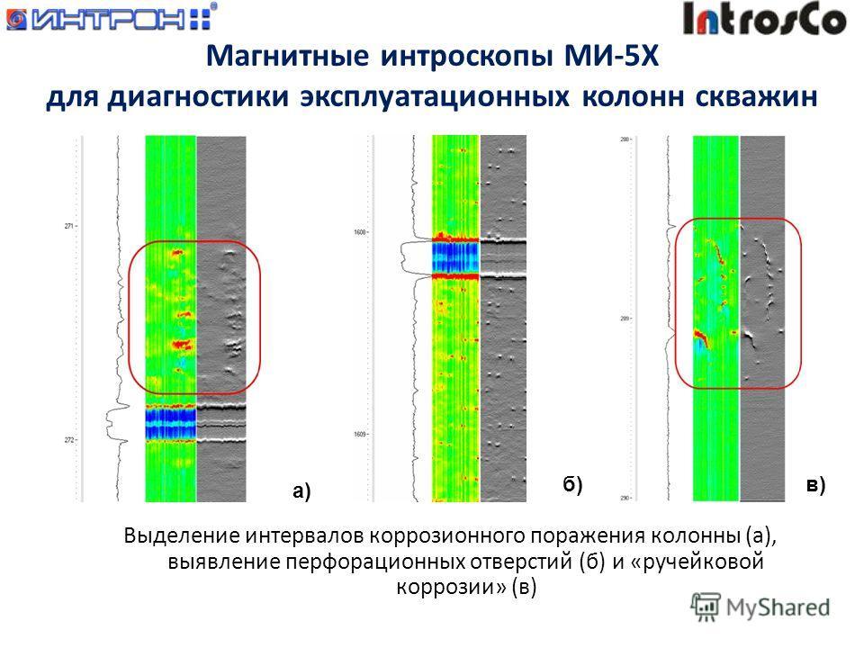 Выделение интервалов коррозионного поражения колонны (а), выявление перфорационных отверстий (б) и «ручейковой коррозии» (в) а) б)в) Магнитные интроскопы МИ-5Х для диагностики эксплуатационных колонн скважин