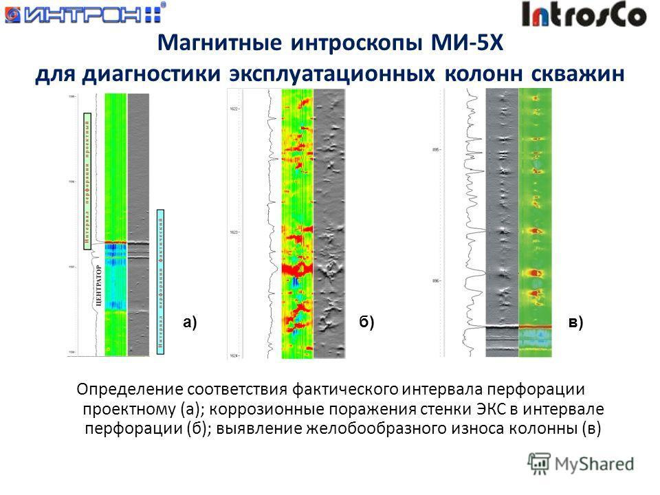 Определение соответствия фактического интервала перфорации проектному (а); коррозионные поражения стенки ЭКС в интервале перфорации (б); выявление желобообразного износа колонны (в) а)б)в) Магнитные интроскопы МИ-5Х для диагностики эксплуатационных к