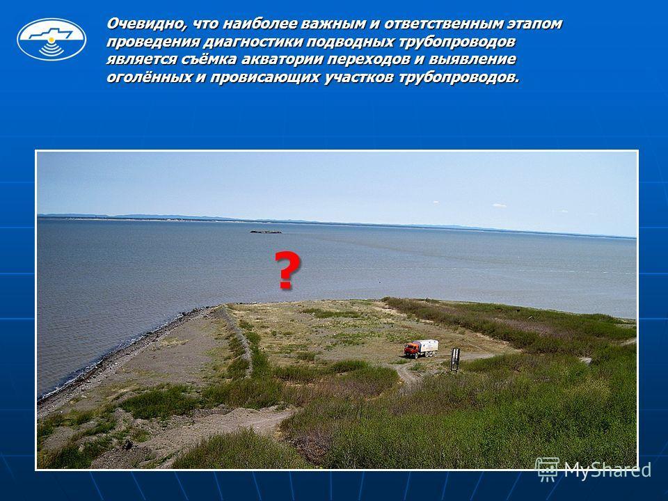 Очевидно, что наиболее важным и ответственным этапом проведения диагностики подводных трубопроводов является съёмка акватории переходов и выявление оголённых и провисающих участков трубопроводов. ?