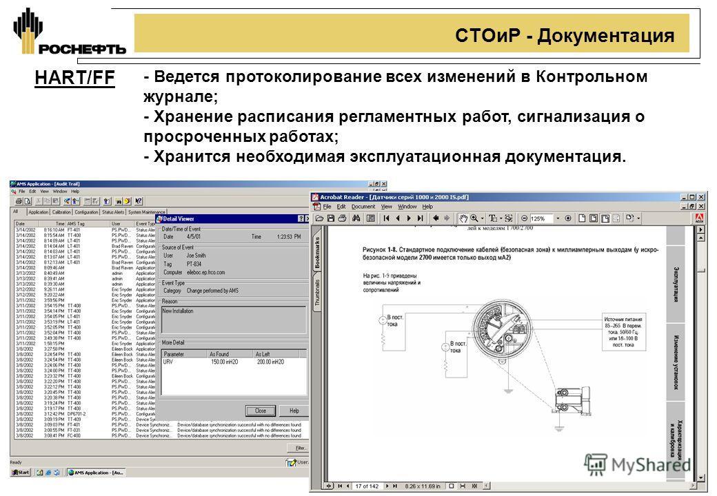 11 СТОиР - Документация HART/FF - Ведется протоколирование всех изменений в Контрольном журнале; - Хранение расписания регламентных работ, сигнализация о просроченных работах; - Хранится необходимая эксплуатационная документация.