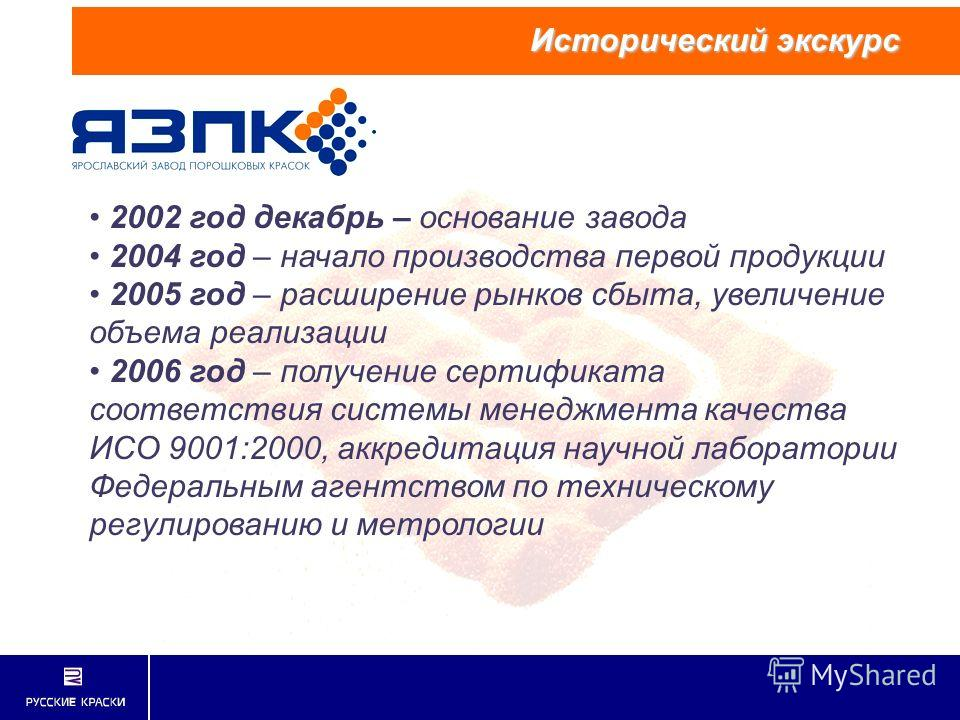 2002 год декабрь – основание завода 2004 год – начало производства первой продукции 2005 год – расширение рынков сбыта, увеличение объема реализации 2006 год – получение сертификата соответствия системы менеджмента качества ИСО 9001:2000, аккредитаци