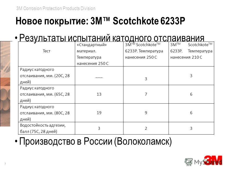 7 3M Corrosion Protection Products Division Новое покрытие: 3M Scotchkote 6233P Результаты испытаний катодного отслаивания Производство в России (Волоколамск) Тест «Стандартный» материал. Температура нанесения 250 С 3М TM Sсotchkote TM 6233P. Темпера