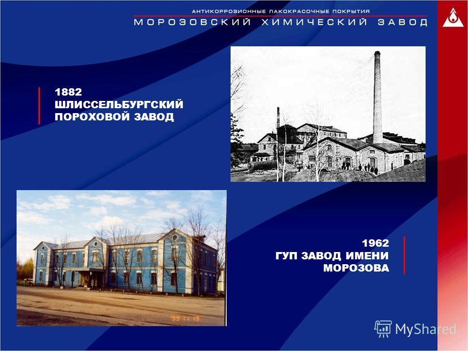 1882 ШЛИССЕЛЬБУРГСКИЙ ПОРОХОВОЙ ЗАВОД 1962 ГУП ЗАВОД ИМЕНИ МОРОЗОВА