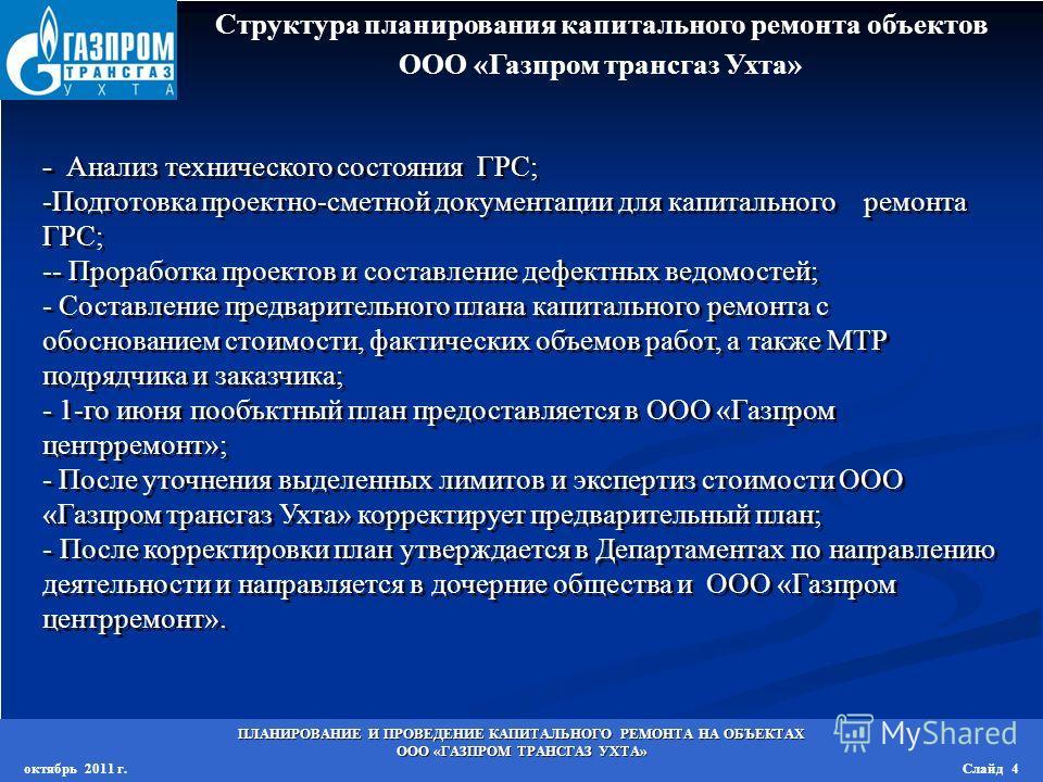 Структура планирования капитального ремонта объектов ООО «Газпром трансгаз Ухта» - Анализ технического состояния ГРС; -Подготовка проектно-сметной документации для капитального ремонта ГРС; -- Проработка проектов и составление дефектных ведомостей; -