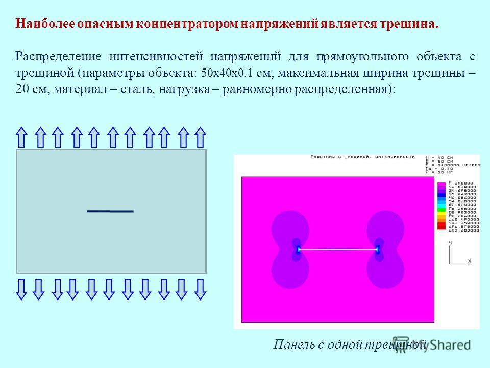 Панель с одной трещиной Наиболее опасным концентратором напряжений является трещина. Распределение интенсивностей напряжений для прямоугольного объекта с трещиной (параметры объекта: 50х40х0.1 см, максимальная ширина трещины – 20 см, материал – сталь