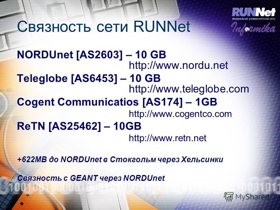 Связность сети RUNNet NORDUnet [AS2603] – 10 GB http://www.nordu.net Teleglobe [AS6453] – 10 GB http://www.teleglobe.com Cogent Communicatios [AS174] – 1GB http://www.cogentco.com ReTN [AS25462] – 10GB http://www.retn.net +622MB до NORDUnet в Стокгол