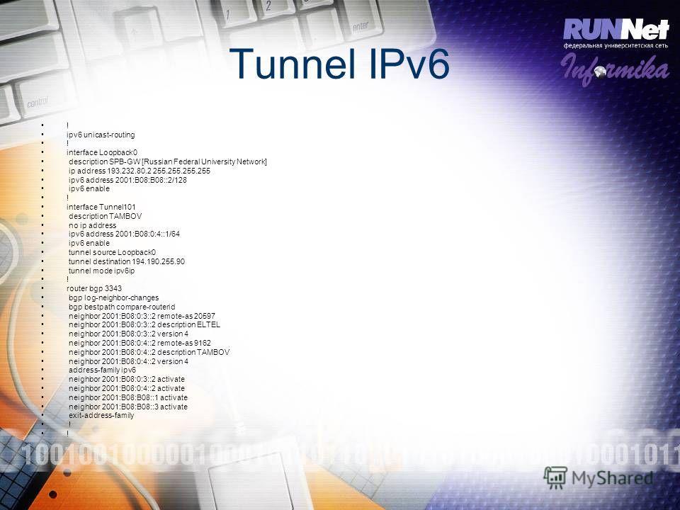 Tunnel IPv6 ! ipv6 unicast-routing ! interface Loopback0 description SPB-GW [Russian Federal University Network] ip address 193.232.80.2 255.255.255.255 ipv6 address 2001:B08:B08::2/128 ipv6 enable ! interface Tunnel101 description TAMBOV no ip addre