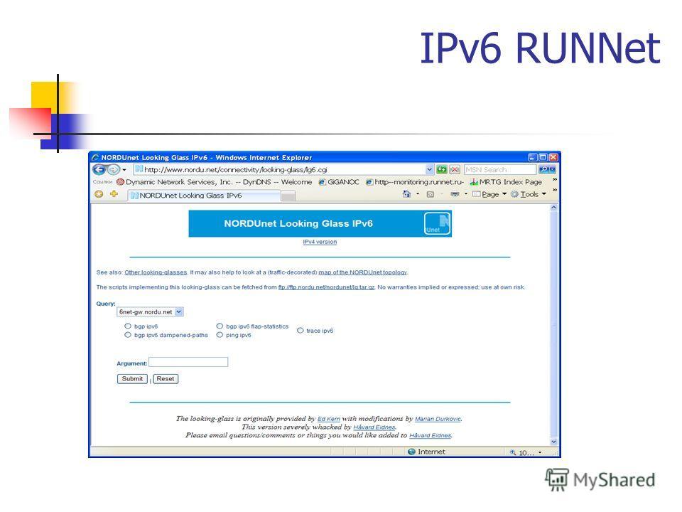 IPv6 RUNNet