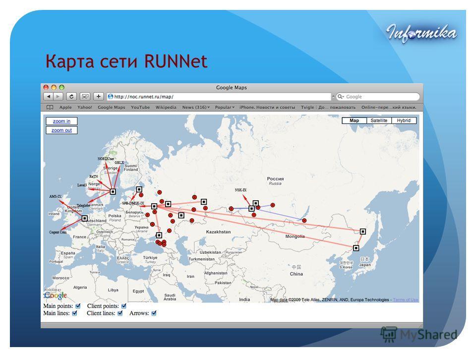 Карта сети RUNNet