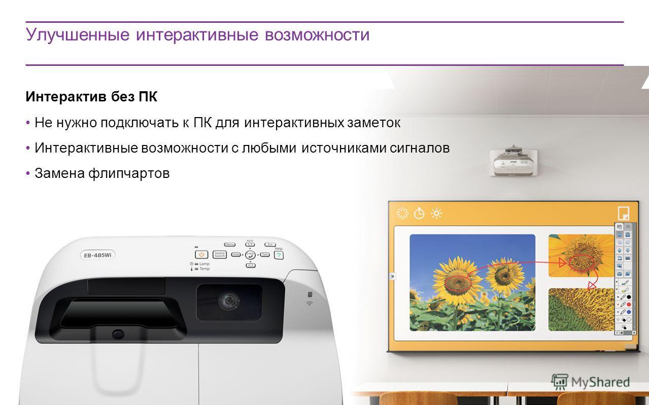 Улучшенные интерактивные возможности Интерактив без ПК Не нужно подключать к ПК для интерактивных заметок Интерактивные возможности с любыми источниками сигналов Замена флипчартов