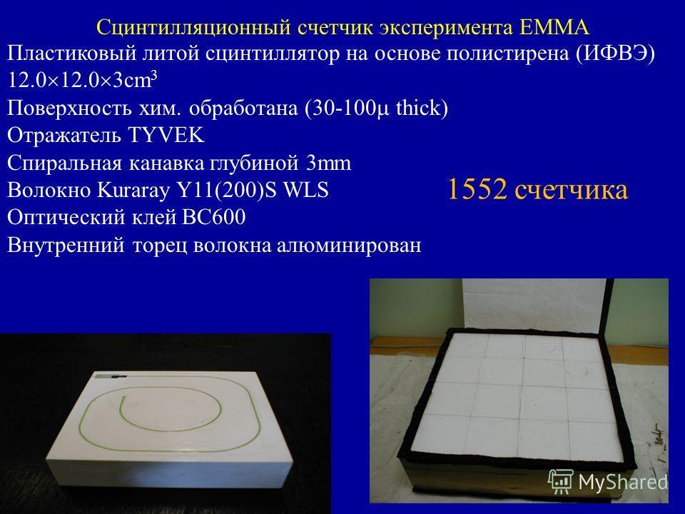 Сцинтилляционный счетчик эксперимента EMMA Пластиковый литой сцинтиллятор на основе полистирена (ИФВЭ) 12.0 12.0 3cm 3 Поверхность хим. обработана (30-100 thick) Отражатель TYVEK Спиральная канавка глубиной 3mm Волокно Kuraray Y11(200)S WLS Оптически