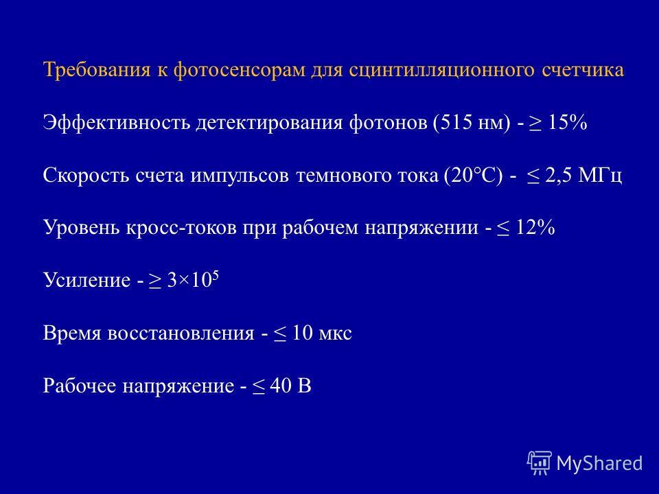Требования к фотосенсорам для сцинтилляционного счетчика Эффективность детектирования фотонов (515 нм) - 15% Скорость счета импульсов темнового тока (20°С) - 2,5 МГц Уровень кросс-токов при рабочем напряжении - 12% Усиление - 3×10 5 Время восстановле