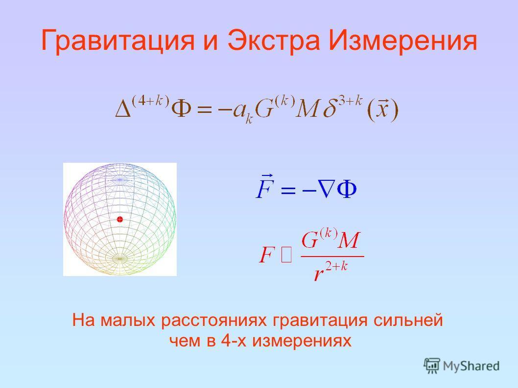 Гравитация и Экстра Измерения На малых расстояниях гравитация сильней чем в 4-х измерениях