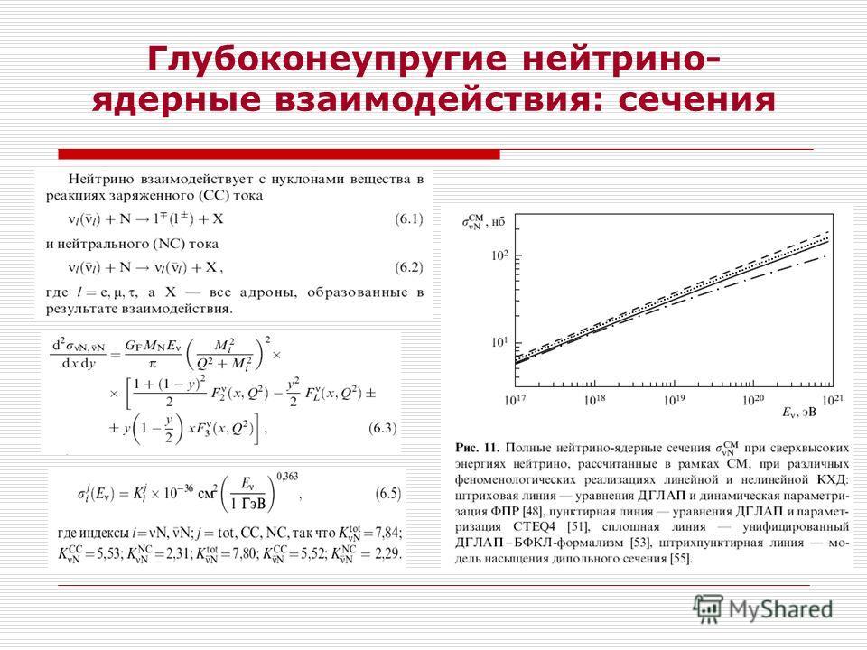 Глубоконеупругие нейтрино- ядерные взаимодействия: сечения