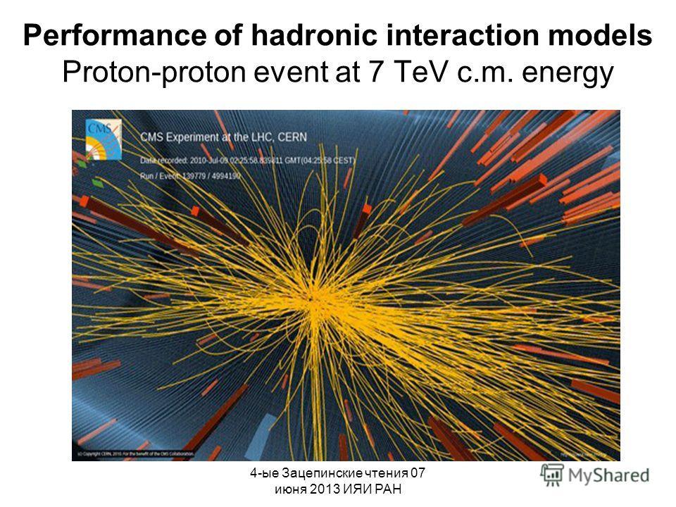 4-ые Зацепинские чтения 07 июня 2013 ИЯИ РАН Performance of hadronic interaction models Proton-proton event at 7 TeV c.m. energy