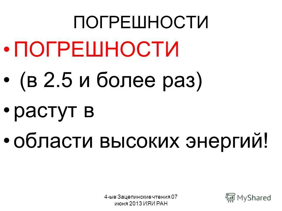 4-ые Зацепинские чтения 07 июня 2013 ИЯИ РАН ПОГРЕШНОСТИ (в 2.5 и более раз) растут в области высоких энергий!