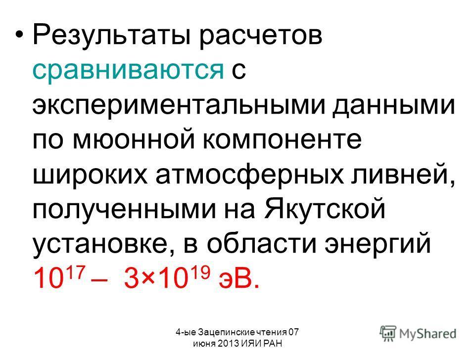 4-ые Зацепинские чтения 07 июня 2013 ИЯИ РАН Результаты расчетов сравниваются с экспериментальными данными по мюонной компоненте широких атмосферных ливней, полученными на Якутской установке, в области энергий 10 17 – 3×10 19 эВ.
