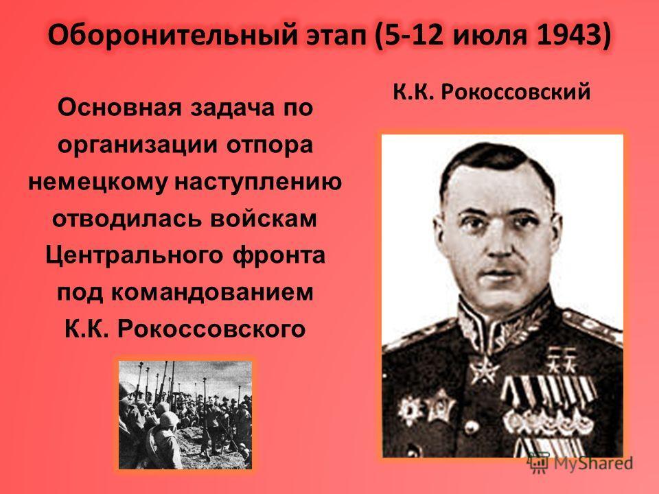 Основная задача по организации отпора немецкому наступлению отводилась войскам Центрального фронта под командованием К.К. Рокоссовского К.К. Рокоссовский