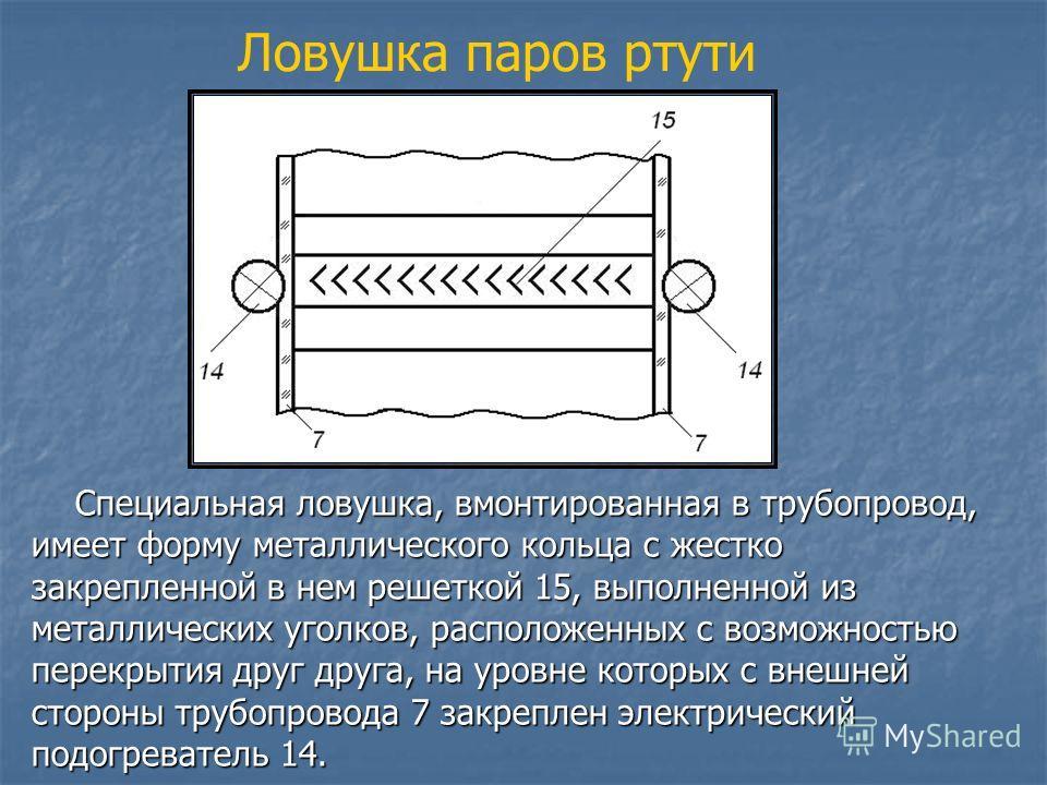 Ловушка паров ртути Специальная ловушка, вмонтированная в трубопровод, имеет форму металлического кольца с жестко закрепленной в нем решеткой 15, выполненной из металлических уголков, расположенных с возможностью перекрытия друг друга, на уровне кото