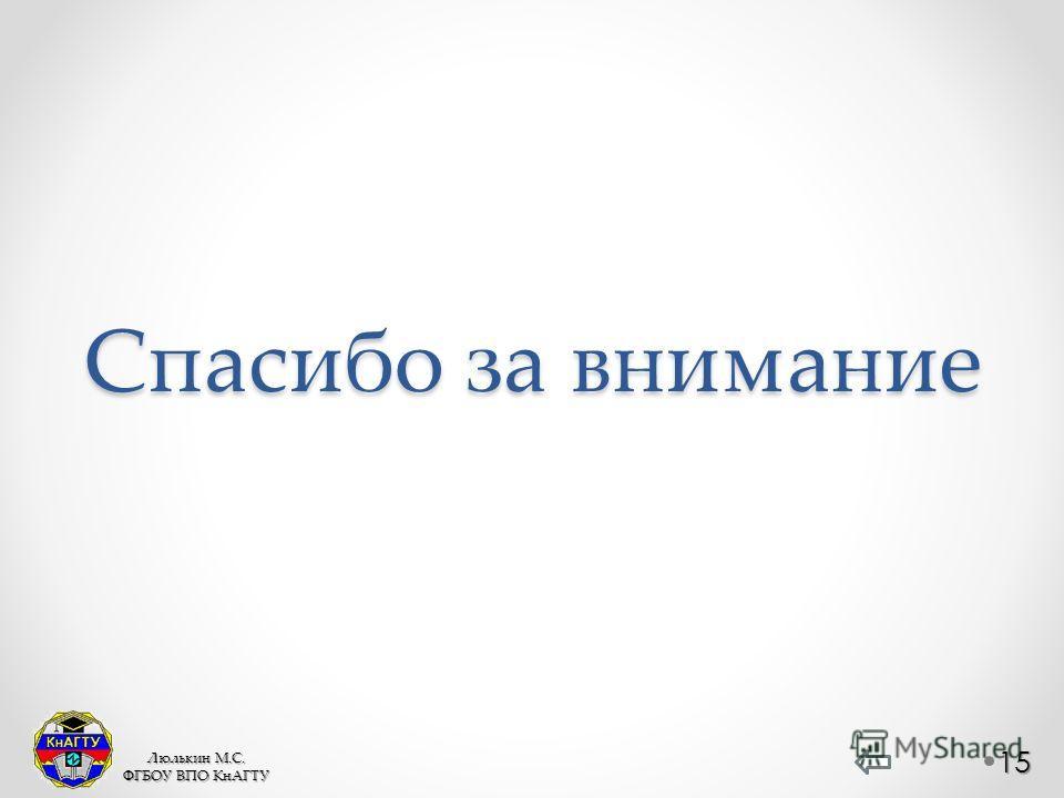 Спасибо за внимание 15 Люлькин М.С. ФГБОУ ВПО КнАГТУ