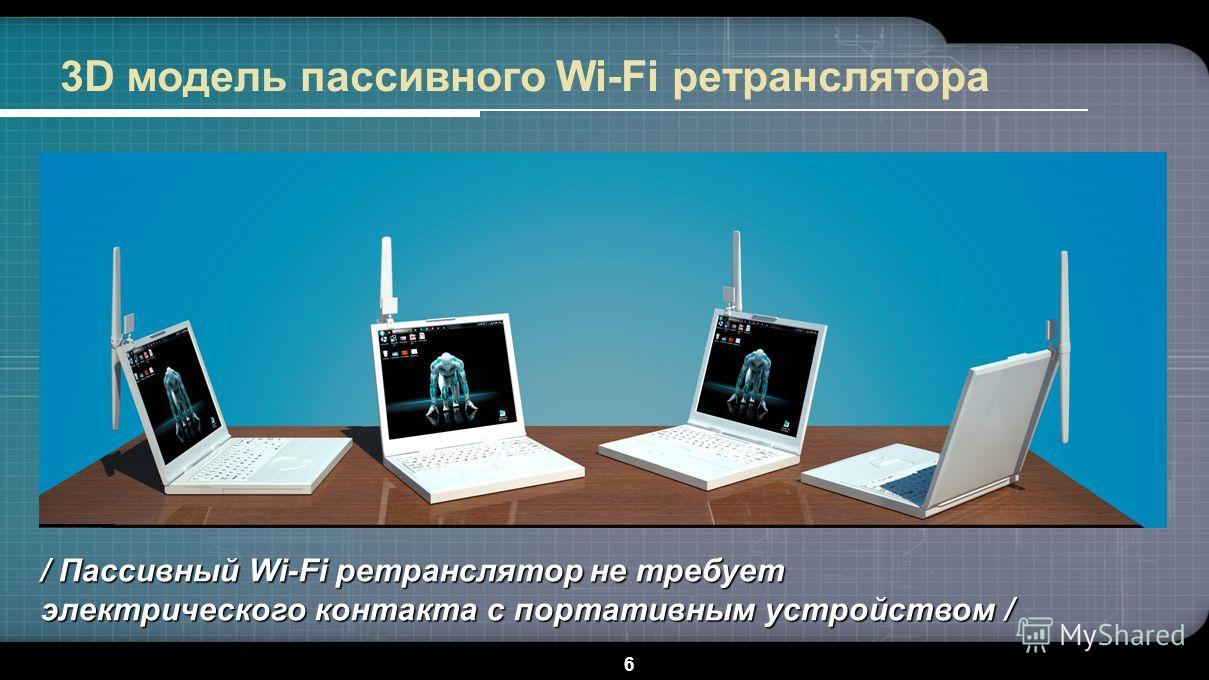 6 3D модель пассивного Wi-Fi ретранслятора / Пассивный Wi-Fi ретранслятор не требует электрического контакта с портативным устройством /