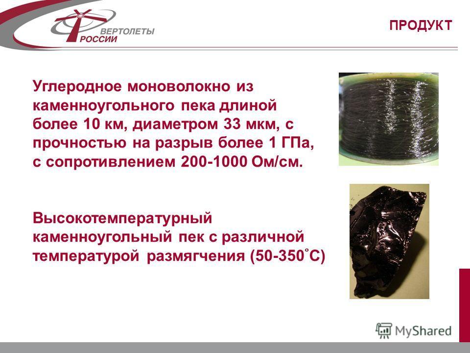 ПРОДУКТ Углеродное моноволокно из каменноугольного пека длиной более 10 км, диаметром 33 мкм, с прочностью на разрыв более 1 ГПа, с сопротивлением 200-1000 Ом/см. Высокотемпературный каменноугольный пек с различной температурой размягчения (50-350С)