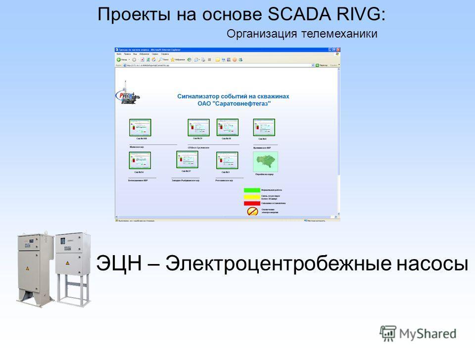 Проекты на основе SCADA RIVG: Организация телемеханики ЭЦН – Электроцентробежные насосы