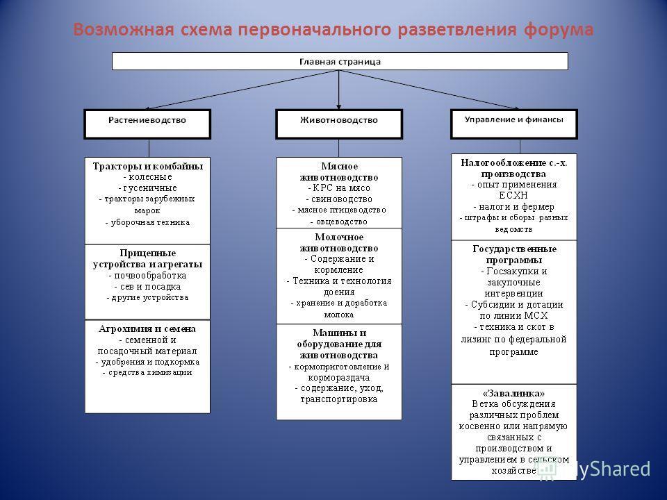 Возможная схема первоначального разветвления форума