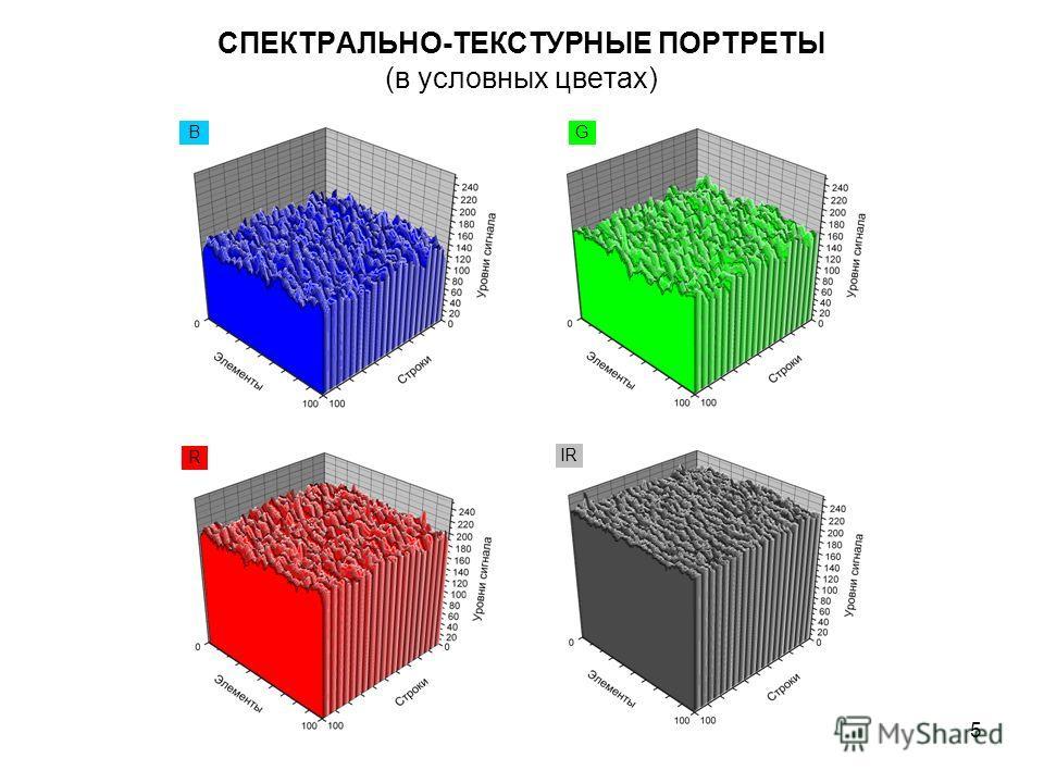 5 СПЕКТРАЛЬНО-ТЕКСТУРНЫЕ ПОРТРЕТЫ (в условных цветах) BG R IR