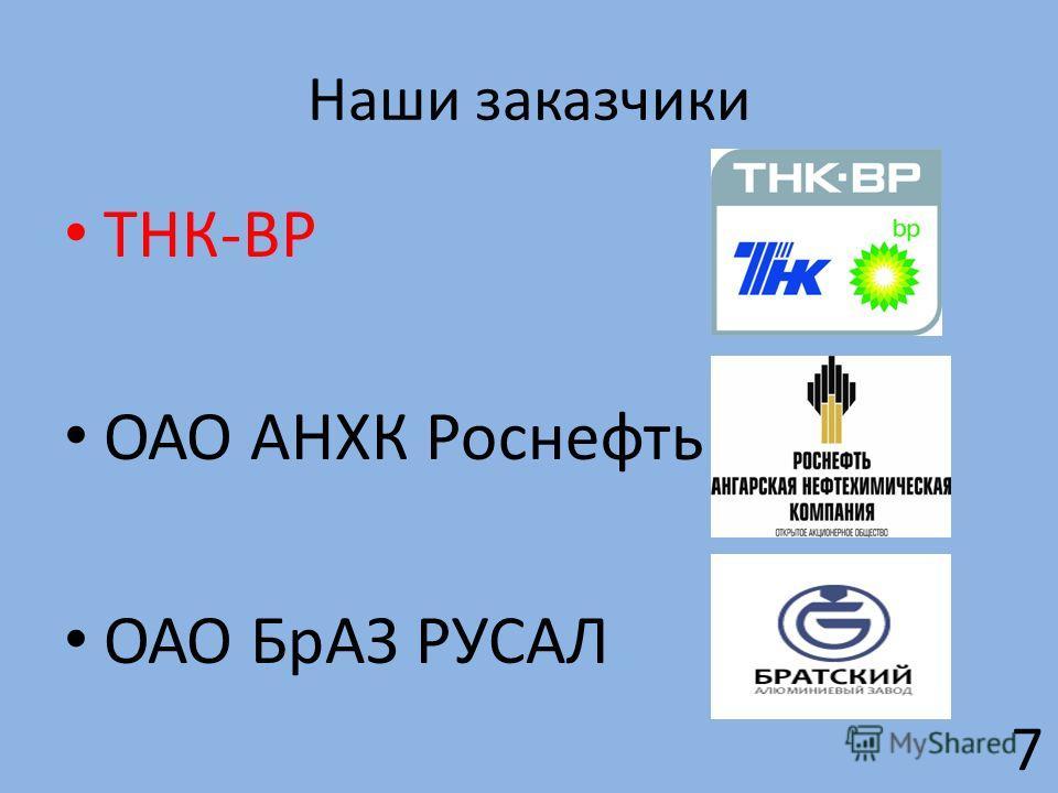 Наши заказчики ТНК-ВР ОАО АНХК Роснефть ОАО БрАЗ РУСАЛ 7