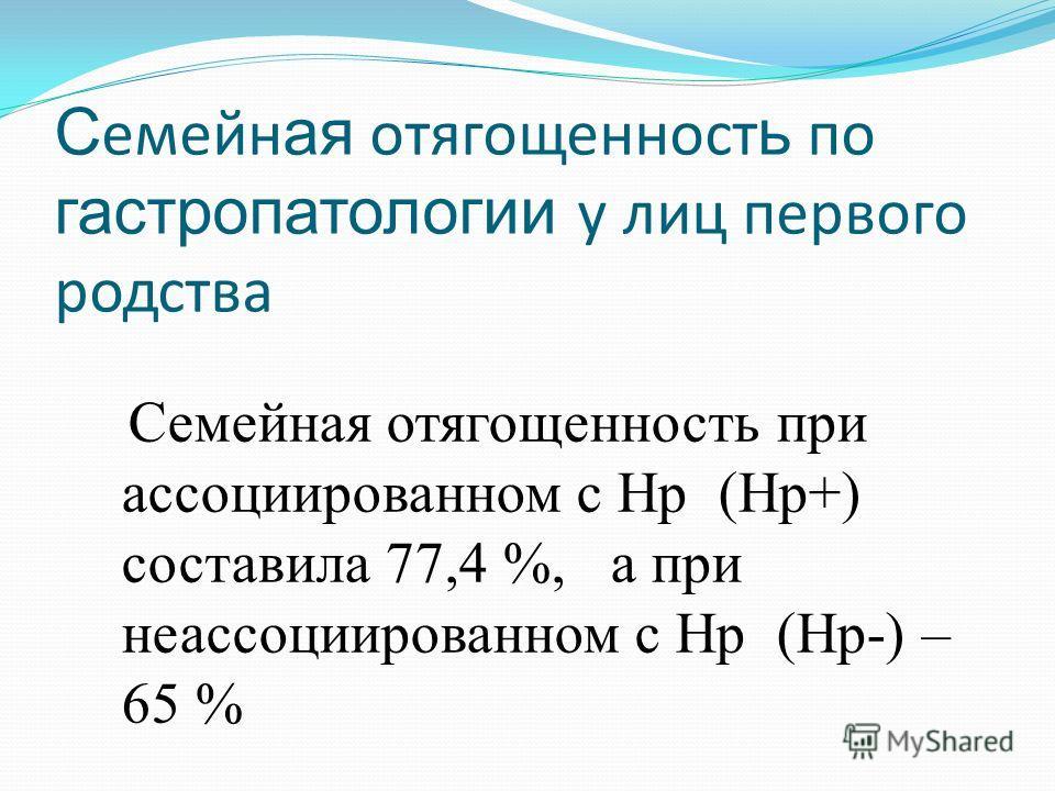С емейн ая отягощенност ь по гастропатологии у лиц первого родства Семейная отягощенность при ассоциированном с Hp (Hp+) составила 77,4 %, а при неассоциированном с Hp (Hp-) – 65 %
