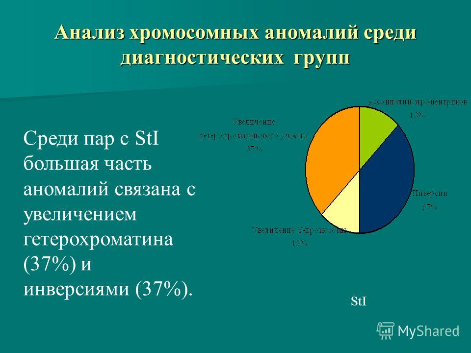 Анализ хромосомных аномалий среди диагностических групп StI Cреди пар с StI большая часть аномалий связана с увеличением гетерохроматина (37%) и инверсиями (37%).