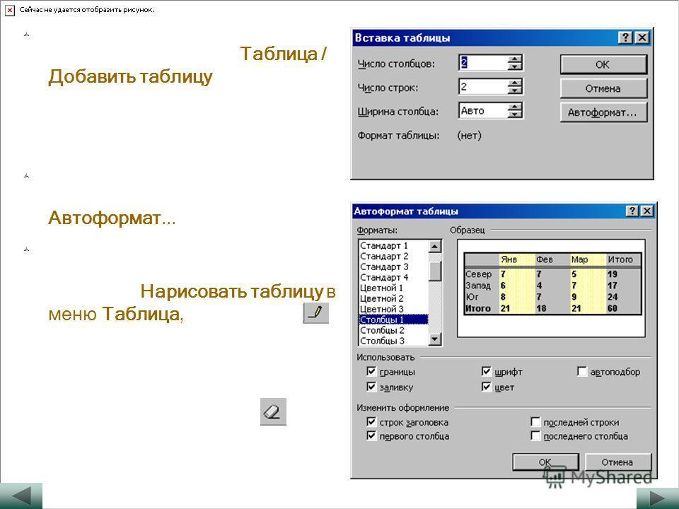 Чтобы создать пустую таблицу, нужно выбрать меню Таблица / Добавить таблицу и указать нужное число строк и столбцов таблицы. Ширину столбца удобно выбрать «Авто». Можно также воспользоваться готовым шаблоном таблицы Автоформат... Для составления слож