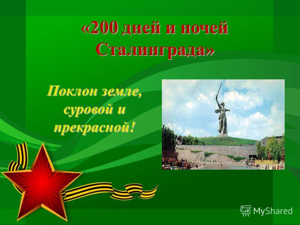 «200 дней и ночей Сталинграда» Поклон земле, суровой и прекрасной!