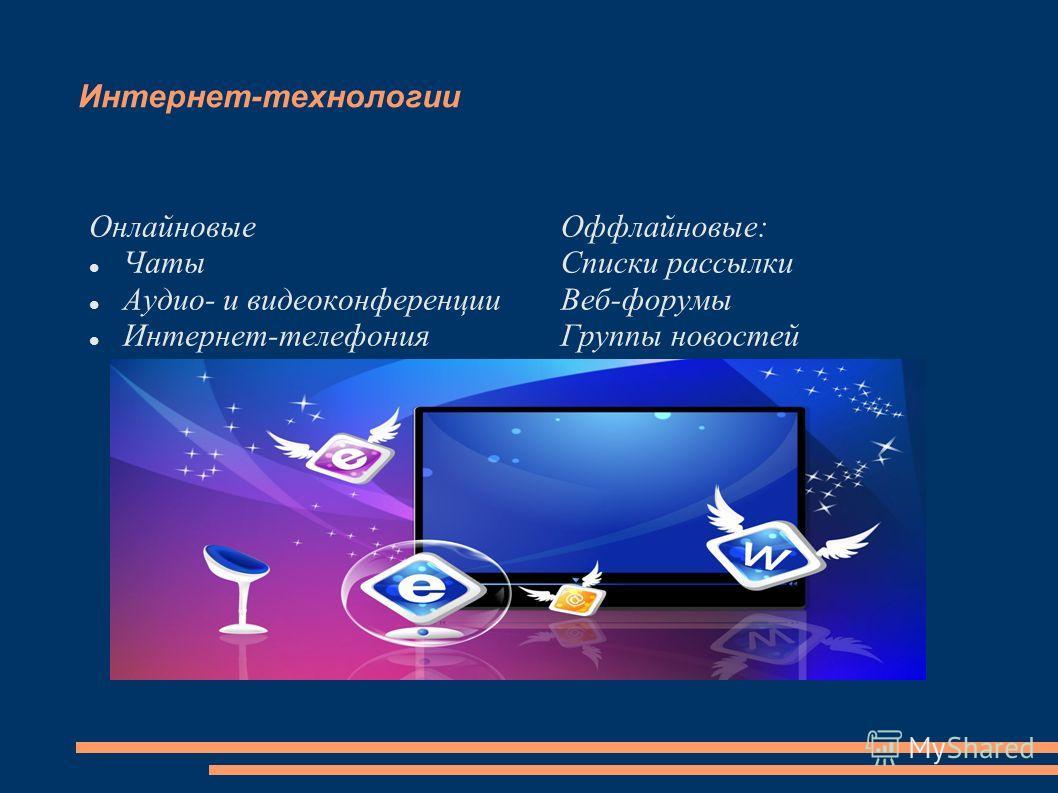 Интернет-технологии Онлайновые Чаты Аудио- и видеоконференции Интернет-телефония Оффлайновые: Списки рассылки Веб-форумы Группы новостей