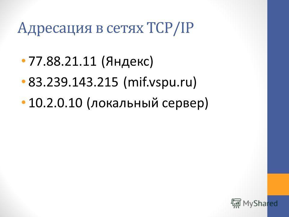 Адресация в сетях TCP/IP 77.88.21.11 (Яндекс) 83.239.143.215 (mif.vspu.ru) 10.2.0.10 (локальный сервер)