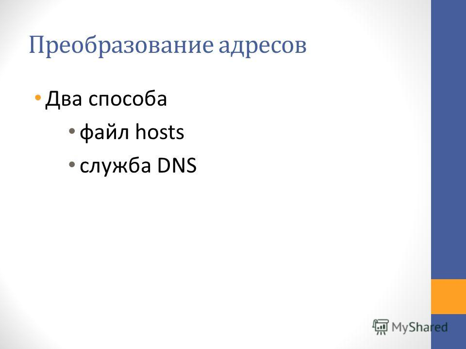 Два способа файл hosts служба DNS
