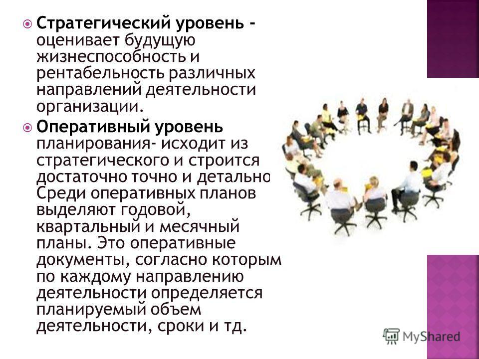 Стратегический уровень - оценивает будущую жизнеспособность и рентабельность различных направлений деятельности организации. Оперативный уровень планирования- исходит из стратегического и строится достаточно точно и детально. Среди оперативных планов