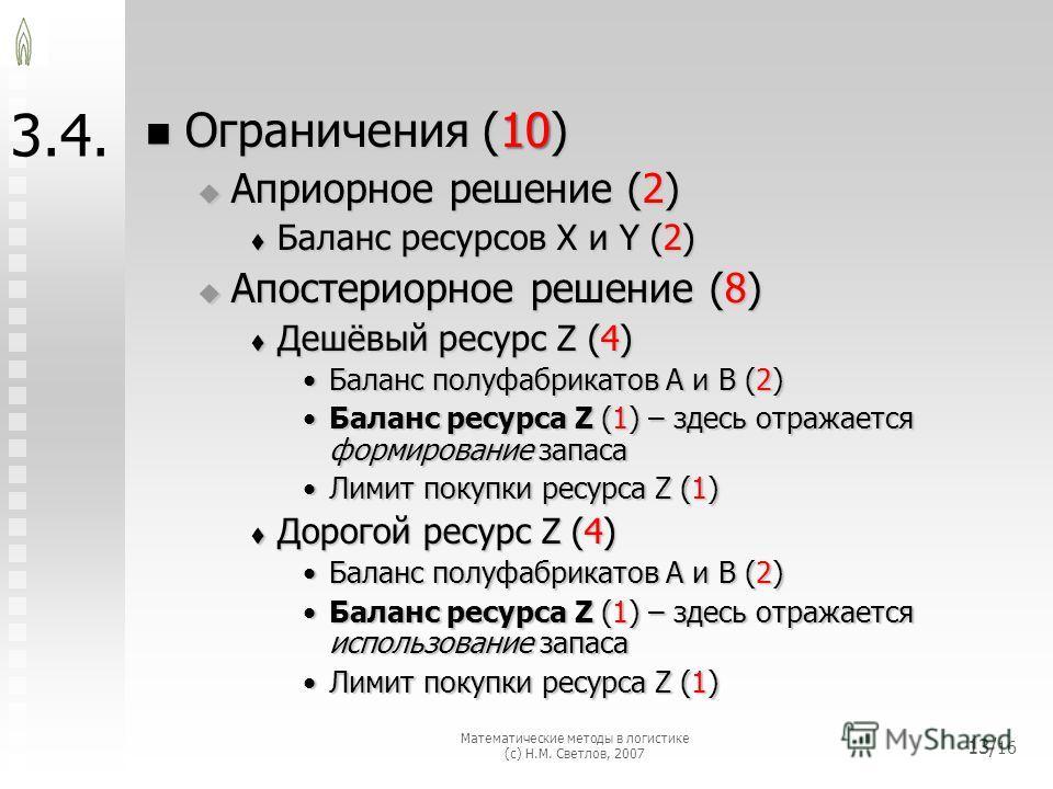 3.4. Ограничения (10) Ограничения (10) Априорное решение (2) Априорное решение (2) Баланс ресурсов X и Y (2) Баланс ресурсов X и Y (2) Апостериорное решение (8) Апостериорное решение (8) Дешёвый ресурс Z (4) Дешёвый ресурс Z (4) Баланс полуфабрикатов