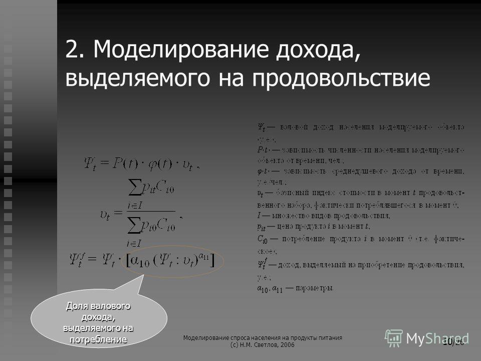 Моделирование спроса населения на продукты питания (с) Н.М. Светлов, 2006 10 /26 2. Моделирование дохода, выделяемого на продовольствие Доля валового дохода, выделяемого на потребление