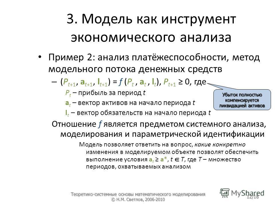 3. Модель как инструмент экономического анализа Пример 2: анализ платёжеспособности, метод модельного потока денежных средств – (P t+1, a t+1, l t+1 ) = f (P t, a t, l t ), P t+1 0, где P t – прибыль за период t a t – вектор активов на начало периода