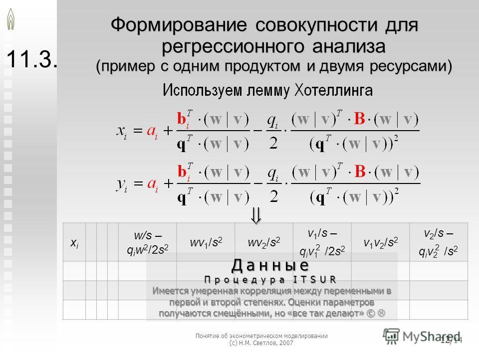 11.3. Формирование совокупности для регрессионного анализа (пример с одним продуктом и двумя ресурсами) xixi w/s – q i w 2 /2s 2 wv 1 /s 2 wv 2 /s 2 v 1 /s – q i v 1 2 /2s 2 v1v2/s2v1v2/s2 v 2 /s – q i v 2 2 /s 2Данные Процедура ITSUR Имеется умеренн