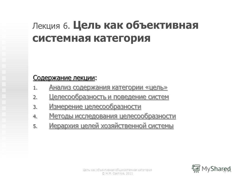 Лекция 6. Цель как объективная системная категория Содержание лекции: 1. Анализ содержания категории «цель» Анализ содержания категории «цель» Анализ содержания категории «цель» 2. Целесообразность и поведение систем Целесообразность и поведение сист