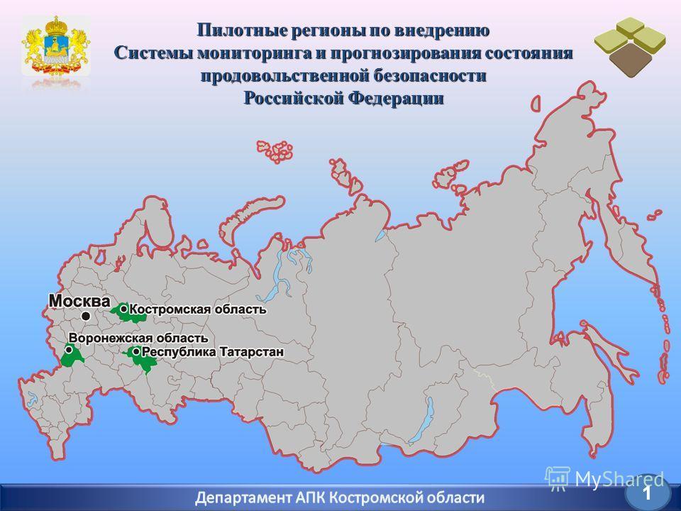 1 Пилотные регионы по внедрению Системы мониторинга и прогнозирования состояния продовольственной безопасности Российской Федерации