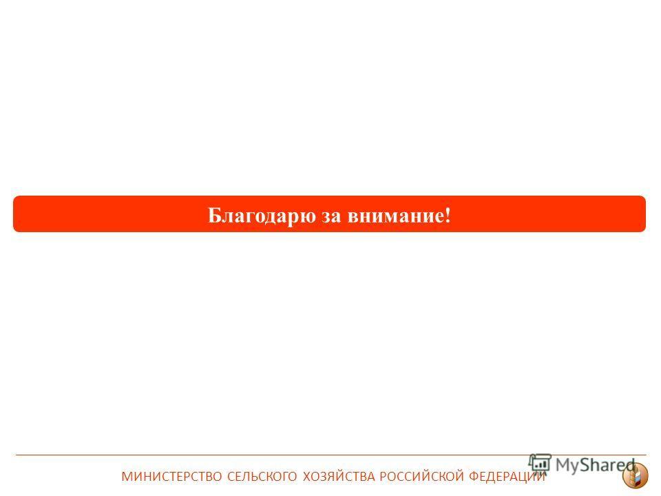 Благодарю за внимание! МИНИСТЕРСТВО СЕЛЬСКОГО ХОЗЯЙСТВА РОССИЙСКОЙ ФЕДЕРАЦИИ
