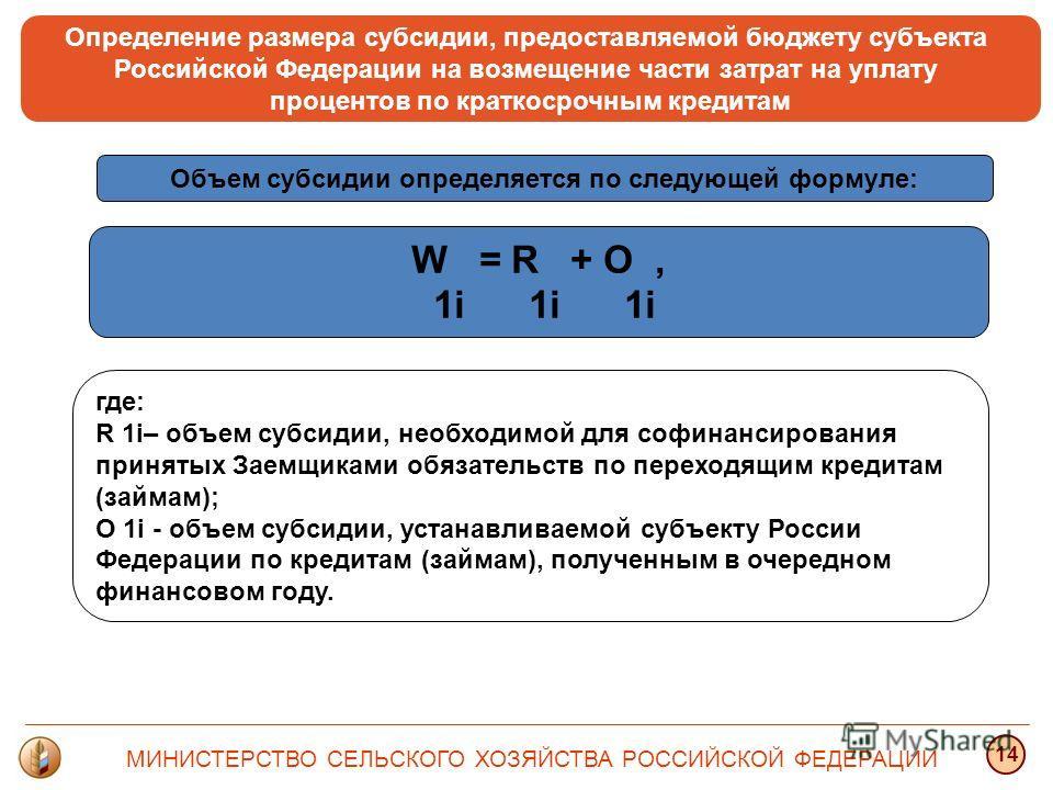 Определение размера субсидии, предоставляемой бюджету субъекта Российской Федерации на возмещение части затрат на уплату процентов по краткосрочным кредитам где: R 1i– объем субсидии, необходимой для софинансирования принятых Заемщиками обязательств